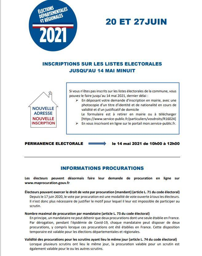 Infos elections